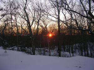 Hiltebeitel Trail sunset, Devil's Den, Weston CT
