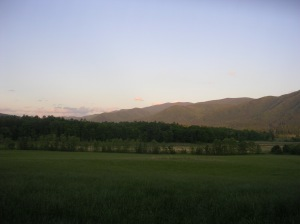 Cades Cove at sunset, Great Smoky Mountains