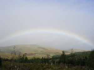 Day 38 - Rainbow over the Potrail Water, a headwater of the River Clyde.