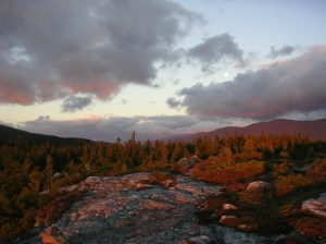 Sunrise hits the Carter-Moriah Range, Wild River Wilderness, White Mountains, New Hampshire