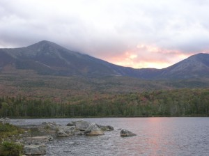 Sunset on Katahdin Range from Sandy Stream Pond