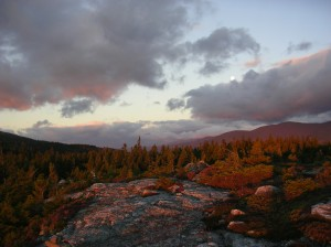 Sunrise lights up the White Mountains, October 2014.