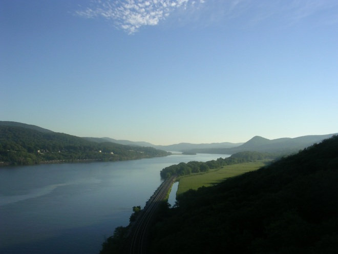 Looking north from Bear Mtn Bridge, Sugarloaf Hill to the right
