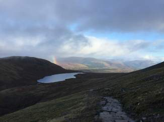 Lochan Meall an t-Suidhe and rainbow—the little loch is some 1,835 feet above sea level
