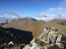 On Buachaille Etive Mor - Scene from the saddle between Stob na Doire and Stob Dearg.