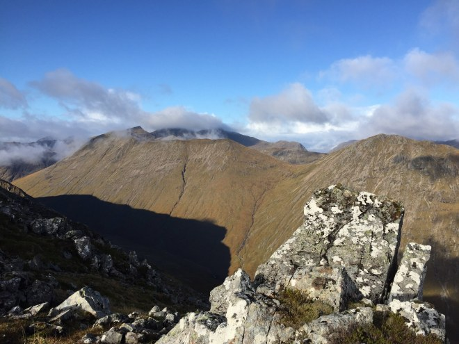 scene from the saddle between stob na doire and stob dearg.