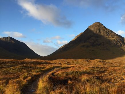 The path into Lairig Gartain. The highest Buachaille Etive Mòr summits are out of view, left. The conical hill on the right is Stob nan Cabar, part of the Buachaille Etive BEAG ridge.