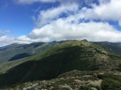 On flank of Eisenhower - Mt Washington hidden in cloud, Mt Monroe visible (cone, center right)